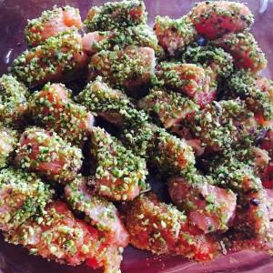 Oggi salmone ai pistacchi!! E ditemi che è veloce da preparare e super buono #pranzo #rapido #buono #salmone #pistacchio #omega3 #slurp #sun #happy